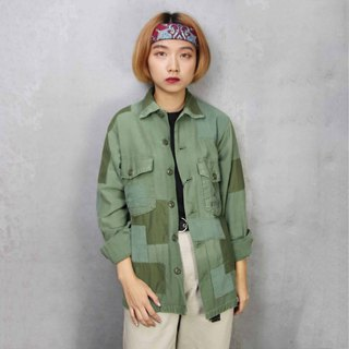 Tsubasa.Y Ancient House A03 Re-splicing Long-sleeved Army Lining, Splicing Army Green Army Shirt