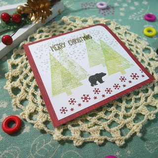 Christmas card (greeting card) - handmade card winter forest