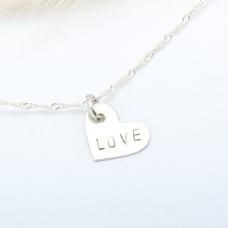 Custom love heart stamping letter digit  s925 sterling silver necklace Valentine