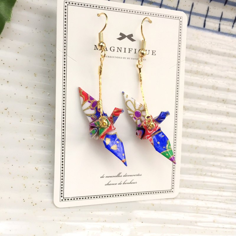 【ear clip on/ear hook or stud】❤️blue Japanese crane earrings\Origami Earrings