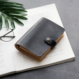 Black loose-leaf leather notebook hand book handmade leather notepad stationery exchange gift
