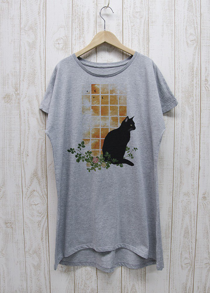 Black Cat One Piece Dress Tee Windowside SUNSET Heather Gray / R030-O-GR