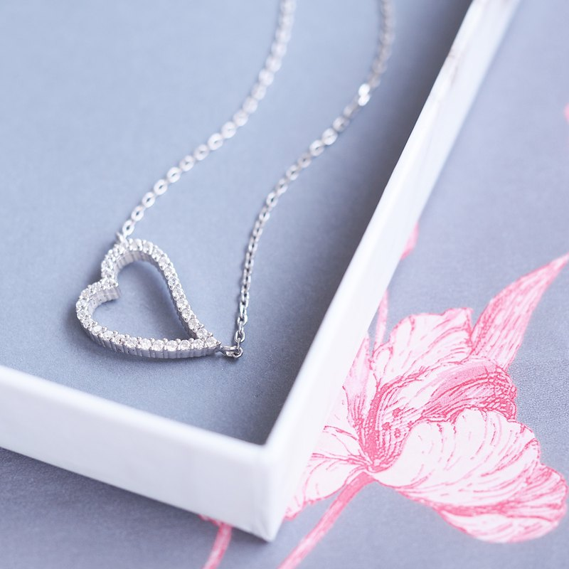 Pave Heart Necklace Silver 925
