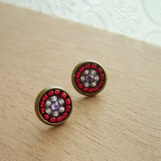 Deco tiles Earrings brilliant red majolica mosaic vintage beads