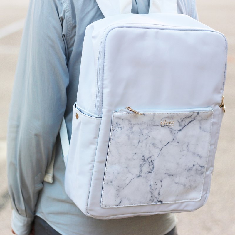 Flash 40%OFF Kendall White Marble White Marble Leather Waterproof Waterproof Computer Backpack