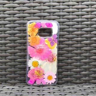 Samsung Galaxy S7 Dry Pressed Flowers Case Pink Daisy Flower case 018