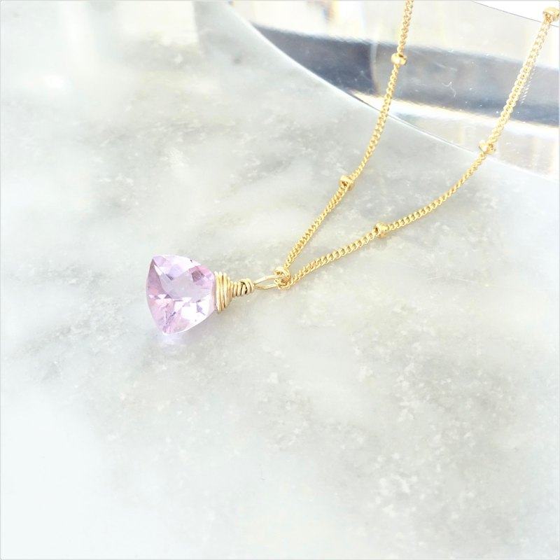 14kgf*宝石質 Pink Amethyst Triangl necklace