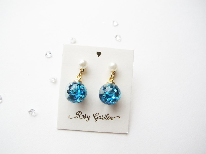 Rosy Garden sky blue glitter with water inside glass ball earrings