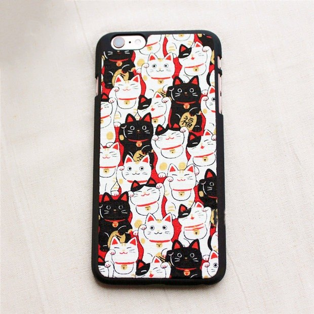 (New 5 fold limited 1 piece) cloth embroidery lettering Apple phone shell iPhone (i6.i6s, i6splus.i7.i7plus) creative mobile phone shell protection shell Lucky cat birthday gift