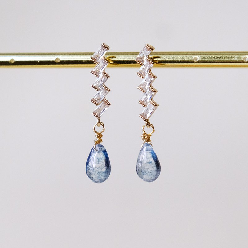 ALYSSA & JAMES 停留的眼淚 水感琉璃珠鋯石耳環