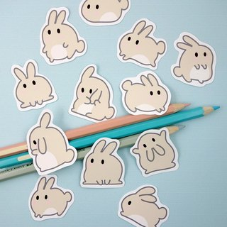Toffee rice fried rice cake Rabbit Stickers 12 / group