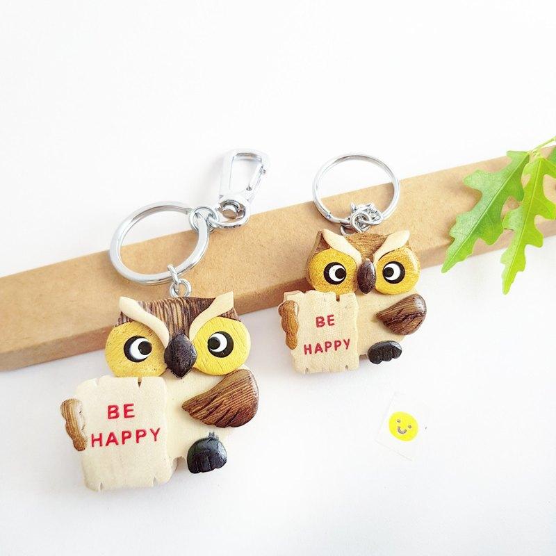 【貓頭鷹系列-貼心貓朋友】手工木製鑰匙圈/吊飾