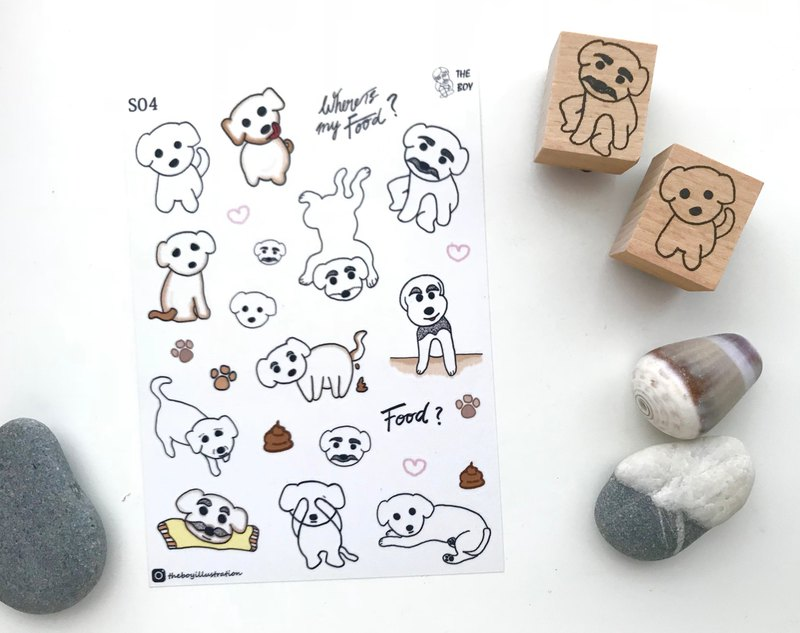 The Boy- Puppies Life die cut washi sticker sheet / dog puppy -S04