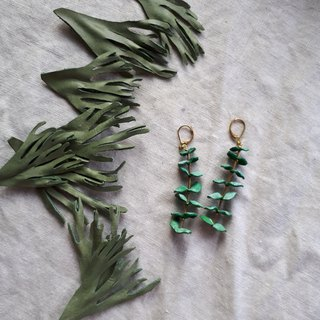 Round leaf eucalyptus earrings (pair) _ leather hand dyed shape