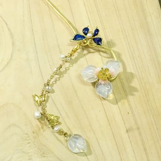 Tung Kee Ling set decoration - pull Tianhua} {rasa Czech glass imitation pearl flower burning blue butterfly decorative brass soft rod inserted hairpin hairpin hair