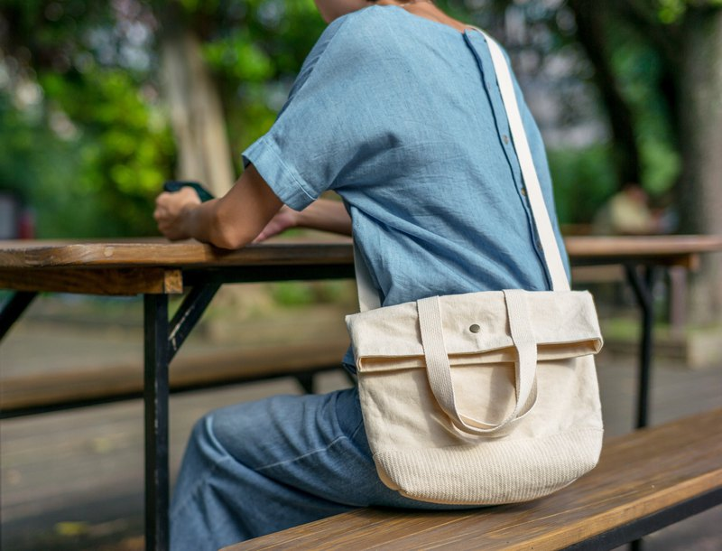 White soil cross-back three-use canvas messenger bag | cotton woven stitching portable and adjustable strap