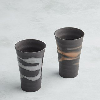 There is a kind of creativity - Japan Meinong - Gold and silver flow micro-long pottery cup group (2 pieces)