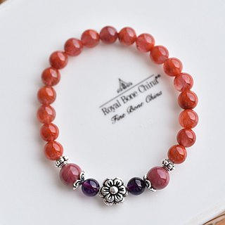 South Red Agate + Rose Stone + Amethyst Flower Bracelet