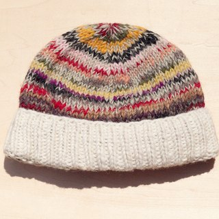 Christmas gifts Christmas children's hat / knitted pure wool warm hat / children's knitted hat / inner brim hat / knitted wool cap / children's clothing wool hat - Eastern European wind rainbow mixed color stripes