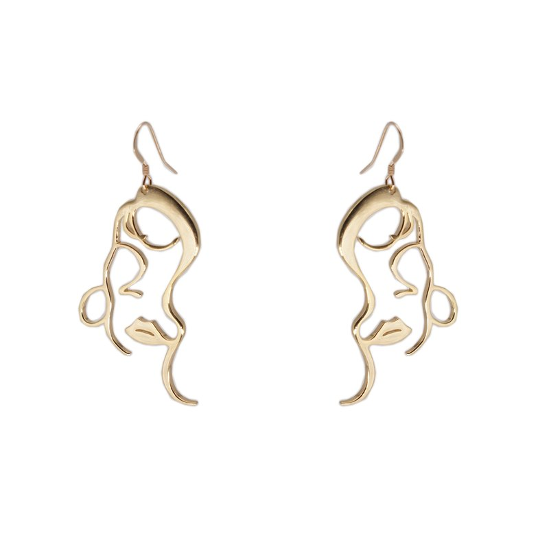 S925 sterling silver abstract temperament model face earrings pair/single