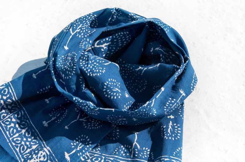 Blue dyed silk scarves / woodcut printed scarves / plant dyed scarves / indigo tassel cotton scarves - blue forest