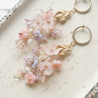 Momolico peach lily earrings bouquet pink starry can be clipped