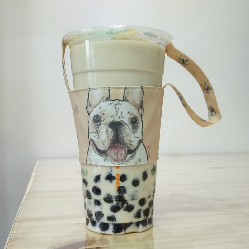 Law bucket - double-sided beverage cup set - dog sketch series ~ double-sided beverage bag