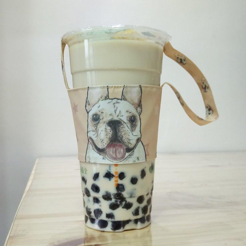 法鬥-雙面飲料杯套-狗狗素描系列~雙面飲料提袋