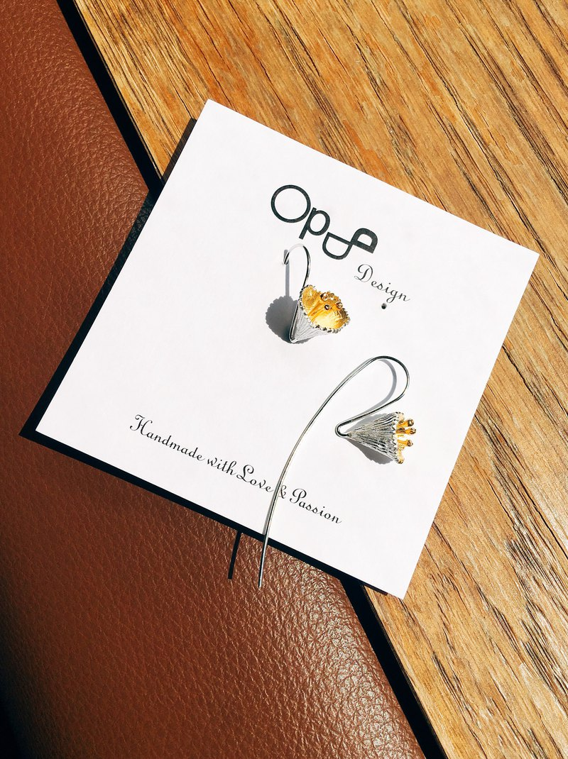 Ops Flower Gold plated Silver unique Earrings