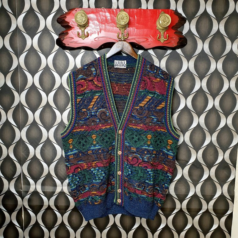 小龟葛葛-Italian-Highlight color geometric old flower totem vintage wool vest