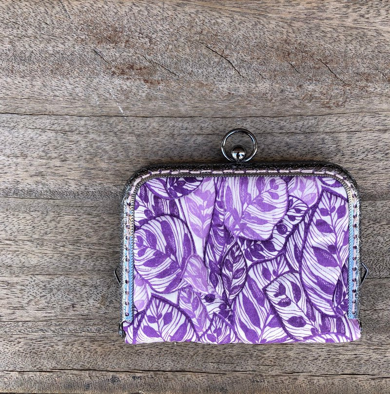 Liberty printed cloth. Purple leaf card holder / business card holder. Out of print