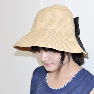Flat 135 X Taiwanese designer bow straw hat folded admission owl dotted blue red black