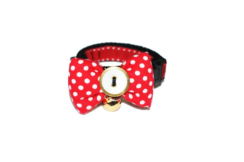 Cat collar, bell tie, knot, retro red
