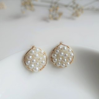 Miluku 14kgf round pearl earrings