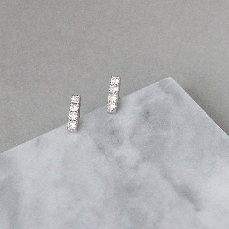 0.38克拉天然鑽石18K鑽石耳環 一字型耳針 珠寶訂製 客製化設計