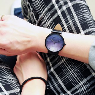 【PICONO】A week collection black leather strap watch / AW-7606