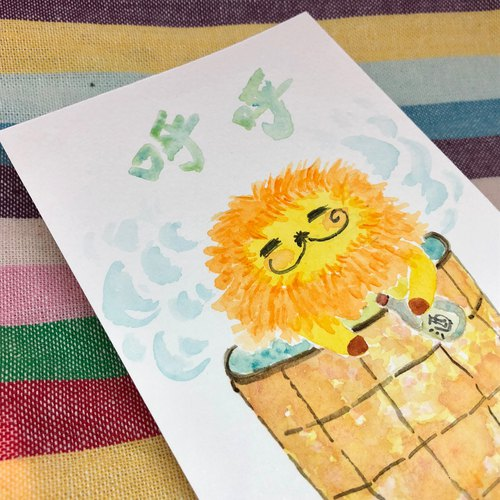 KaaLeo Hand-painted postcards - Whale Lion ライオン