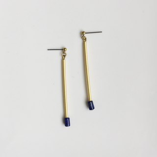 Blue cotton swab brass natural stone modeling earrings