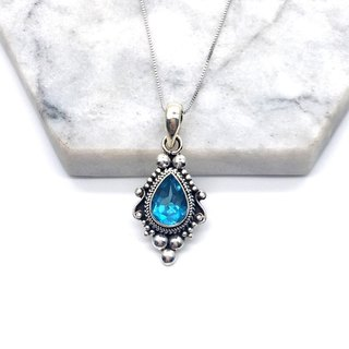 Blue Topaz 925 sterling silver Baroque necklace Necklace handmade in Nepal