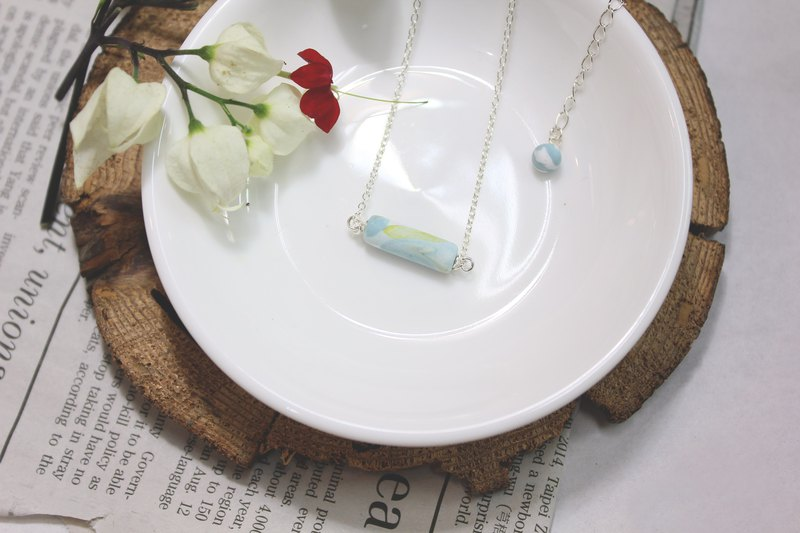 Blue Green Marble Necklace / 925 Sterling Silver Chain