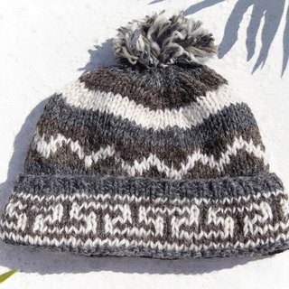 Christmas gift emergency gift exchange gifts limited a hand-woven wool hat / knitted wool cap / inner bristles hand-woven wool cap / wool cap / handmade knitted hat - hillside travel East European surf totem coffee latte
