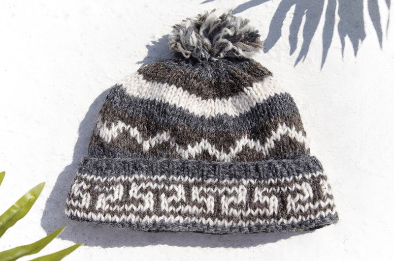 61da41a26ff Hand-knitted pure wool hat   knitted hat   inner brush hair hand-woven