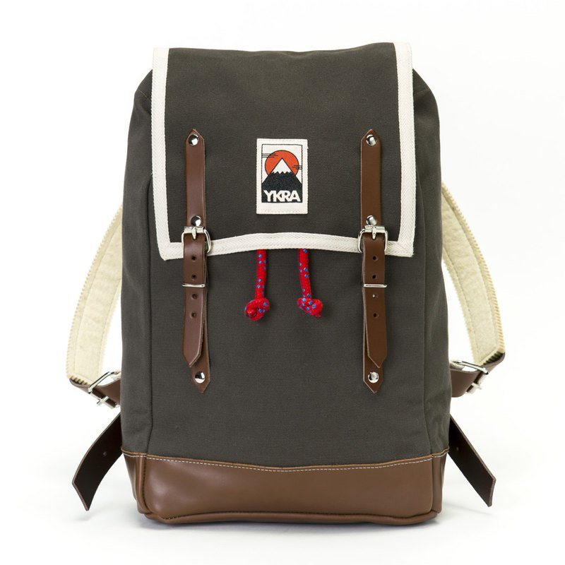 YKRA BACKPACK MATRA MINI LEATHER STRAP AND BOTTOM KHAKI