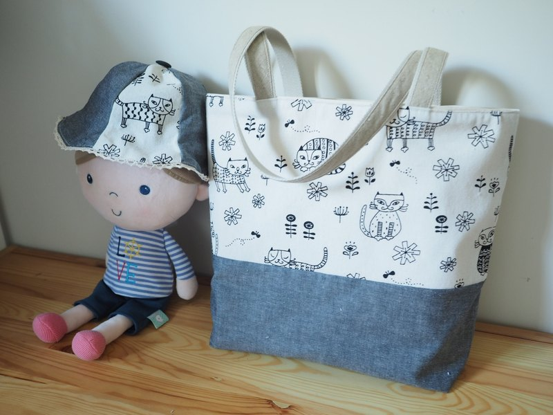 Baby shower - Handmade Canvas tote bag and hat with Cat/kitten pattern in Grey
