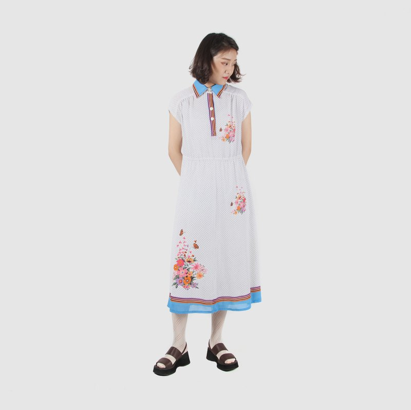 [Egg Plant Vintage] Spring Butterfly Dance Print Half Sleeve Vintage Dress