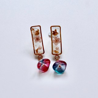 Rectangular Purple Pressed Flowers Earrings with Colourful Beads