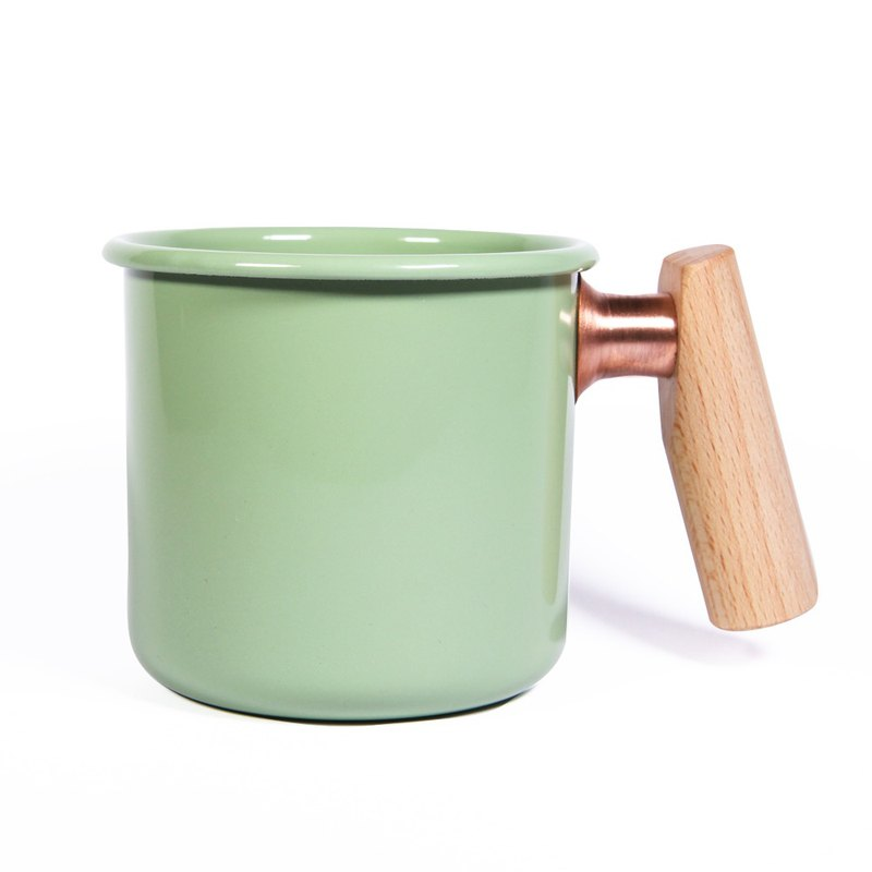 Wooden handle cup 400ml (herb green)