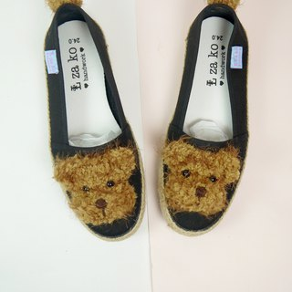 Black cotton hand made canvas shoes, raccoon bear models have woven models