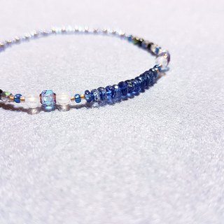 Kyanite x blue halo moonstone x black spinel - beautiful blue radiance
