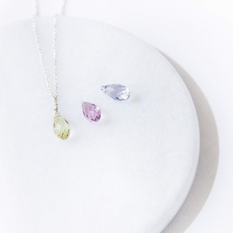 Pastel / small fresh - Swarovski Crystal 925 silver necklace chain clavicle